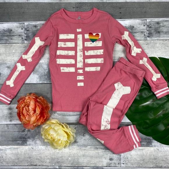 NWT Gymboree Halloween Pink Skeleton Gymmies Pajamas PJs Girls